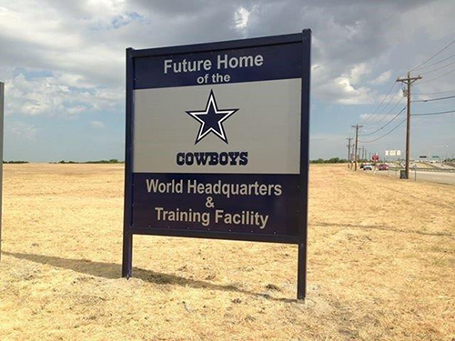 Site Sign for the future home of the Dallas Cowboys world headquarters